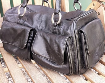 Black leather mini holdall. R.S. leather tote bag, Vintage hobo Shoulder  satchel purse, a01784cda7