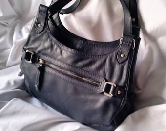 b89c0adc2 Jones the Bootmaker Navy Blue leather Hobo Satchel Handbag, Work / Business Tote  shoulder bag