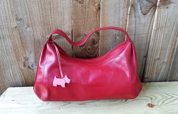Red leather Radley purse, Scottie dog tag leather