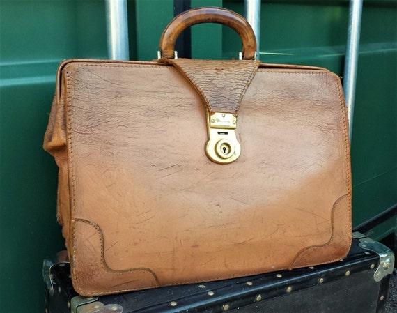 English Academic Briefcase, Caramel Leather Circa
