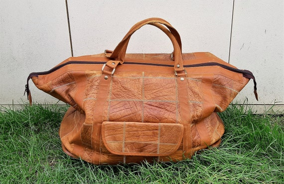 80s Patchwork leather Holdall, caramel brown leath