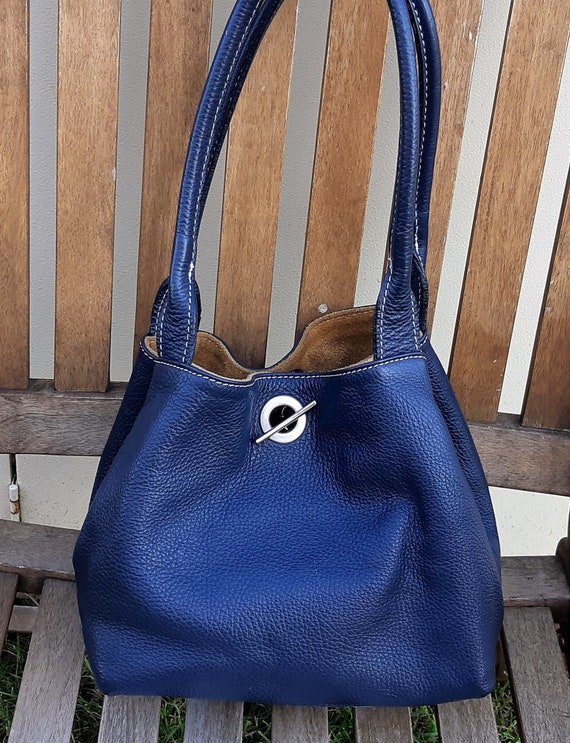 Boxy Tote Bag, Blue leather and brown suede revers