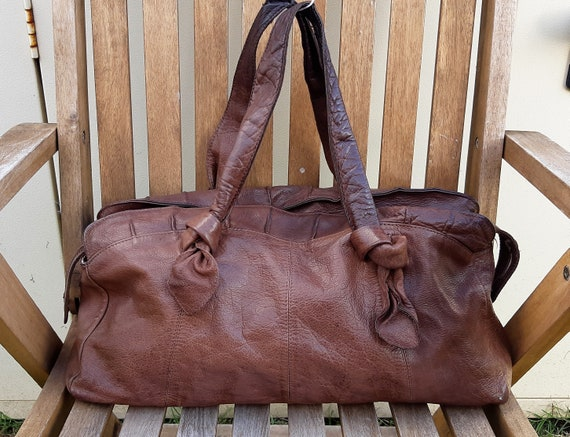 Slouchy brown leather hobo tote bag, soft leather