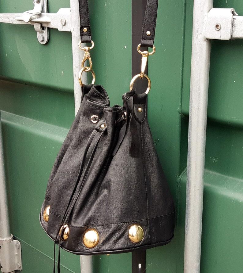 duffel tote bag, Vintage Topshop studded black leather messenger Purse
