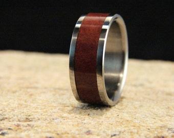 Coolibah Burl and Titanium Ring, wood inlay ring, titanium ring,wedding rings, titanium and wood ring, exotic wood ring metal and wood ring