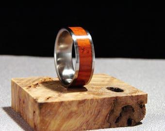 Cocobolo and Titanium ring, Exotic hardwood inlay ring, Wood and metal ring, Cocobolo wood inlay ring