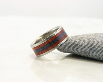 Orange Agate and Lapis Lazuli inlay ring with Titanium band, Crushed stone inlay with exotic hardwood,Orange and Blue colors