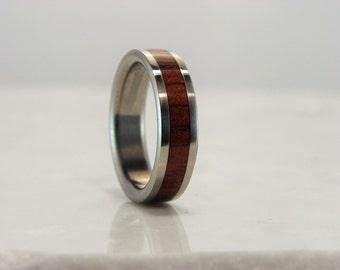 Bubinga and Titanium wood inlay ring, wedding ring, wood inlay ring, exotic hardwood ring