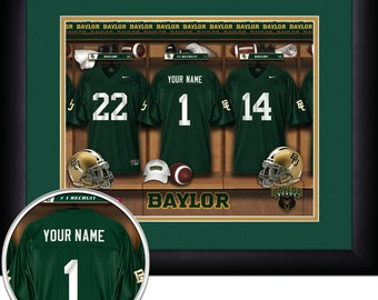 5cecf57287e NCAA Football -Locker Room Print -Baylor Bears -Personalized!! MATTED and  FRAMED