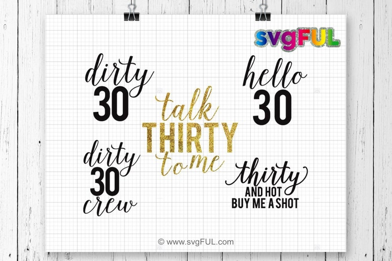 SVG Thirty Birthday Bundle 30th Birthday 30 30th Birthday image 0