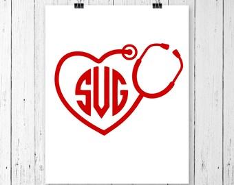 INSTANT DOWNLOAD! Heart Monogram Stethoscope Svg, Stethoscope Svg, Heart Stethoscope SVG, Nurse Svg, Pharmacist Svg