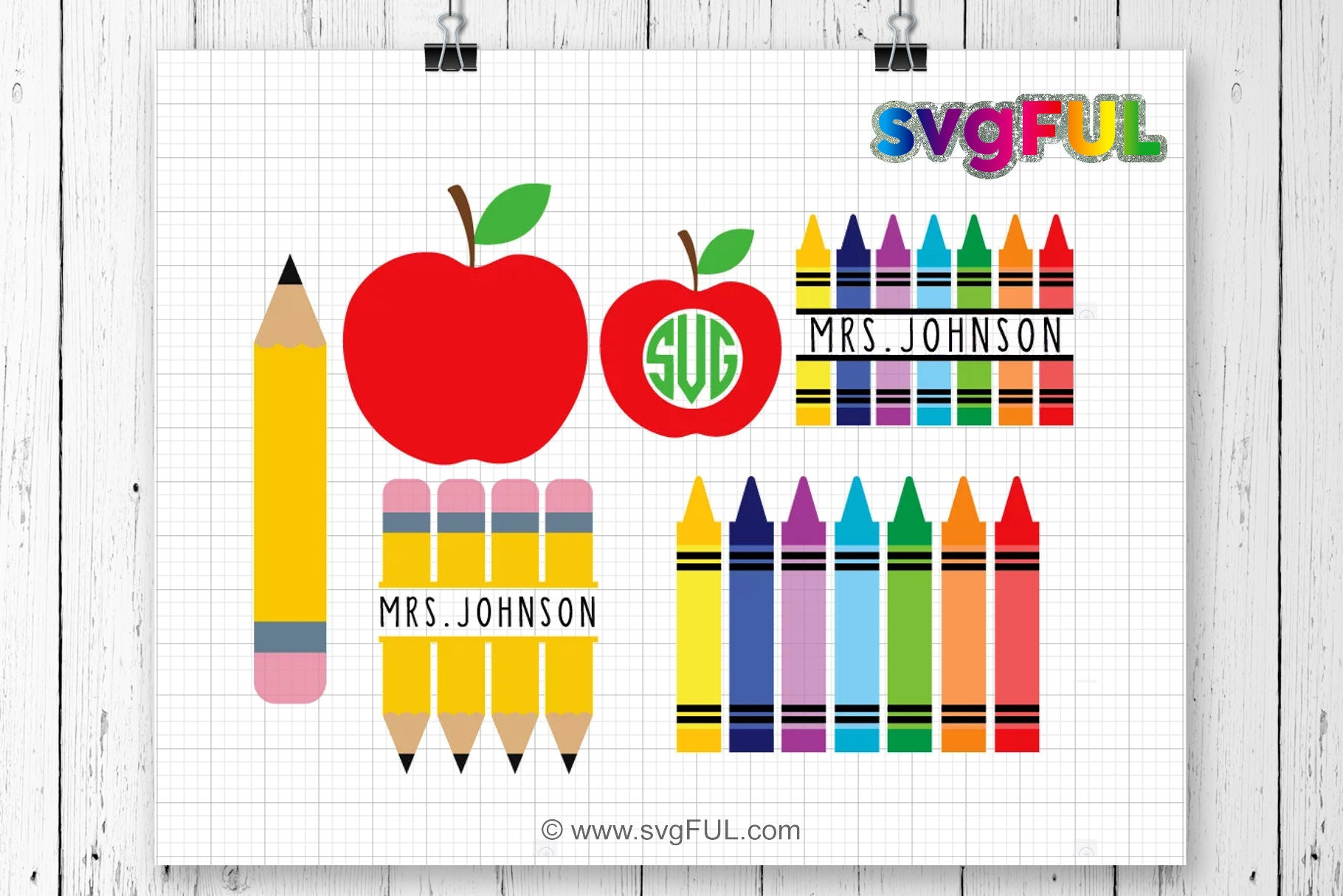 Teacher Svg Crayon Split Monogram Svg Pencil Svg Crayons Etsy