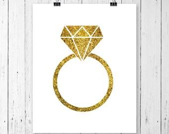 INSTANT DOWNLOAD! SVG, Glitter Diamond Ring Svg - diamond ring svg - diamond ring icon silhouette digital file svg, png, dxf