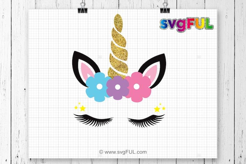 SVG Glitter Unicorn head Svg Unicorn Clip Art Unicorn Face image 0