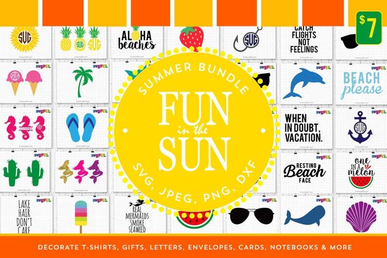 Fun In The Sun Summer Svg Bundle Summer Clipart Summer image 0