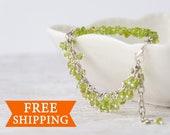 Silver peridot bracelet - August birthstone - Peridot jewelry