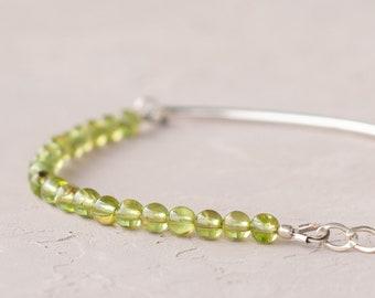 Chrysolite olivine bracelet, Natural gemstone bracelet, Genuine peridot bracelet 4mm, 4.5 mm
