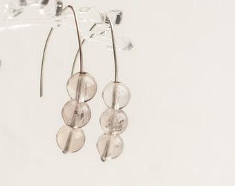 Smoky quartz earrings sterling silver, Quartz wire earrings, Smoky quartz drop earrings