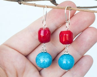 Red coral earrings, Red bamboo earrings, Blue and red earrings, Red coral dangle earrings, Bamboo jewelry