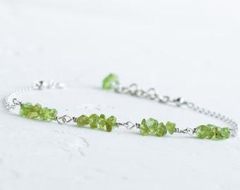 Natural peridot bracelet, August birthstone jewelry, Peridot jewelry