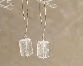 Clear quartz earrings, Sterling silver long earrings
