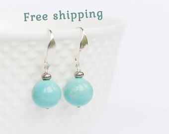 Baby blue earrings, Big blue earrings, Aqua blue earrings, Blue earrings for women, Women blue earrings, Blue ball earrings, 8-18 mm