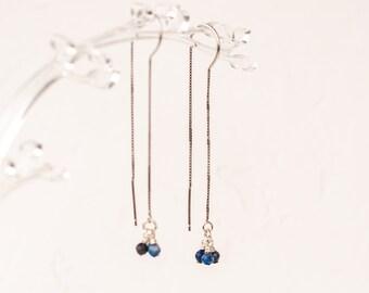 Sterling silver threader earrings - Blue lapis lazuli stones