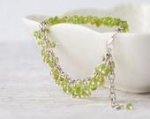 Raw peridot bracelet, August birthstone gift for women, Gemstone boho bracelet, Genuine peridot jewelry