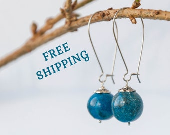 Celestial earrings, Long blue earrings for wedding, Science earrings, Blue dangle earrings, Polymer clay earrings, Blue wedding earrings