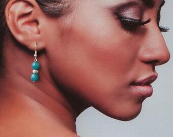 Dark blue earrings, Blue dangle earrings, Blue agate earrings,Blue dangling earrings