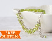 Raw peridot bracelet, August birthstone, Peridot jewelry, Birthday gift for women
