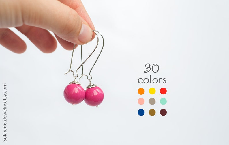 Dangle ball earrings 30 COLORS Polymer clay image 0
