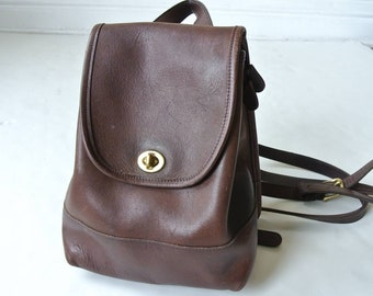 c830bc9a83 Vintage Coach Leather Small Backpack Chocolate dark brown