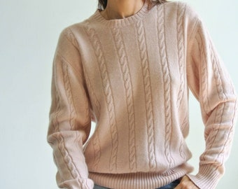 Vintage 1980s Hot Pink Double Breasted Virgin Wool Pendleton Cropped Knit Batwing Pullover Cardigan size M