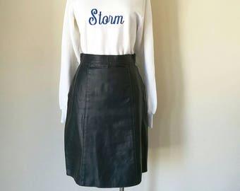 Vintage 1980s COMINT leather mini skirt W 26'
