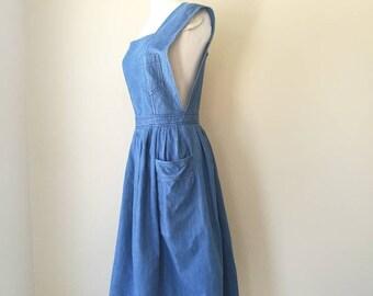 Vintage open back denim jumper dress