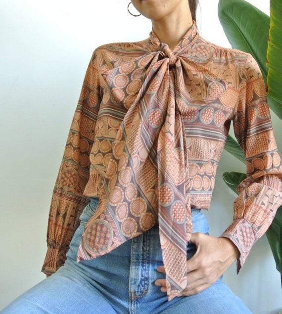 Vintage 1970s cotton big bow secretary blouse