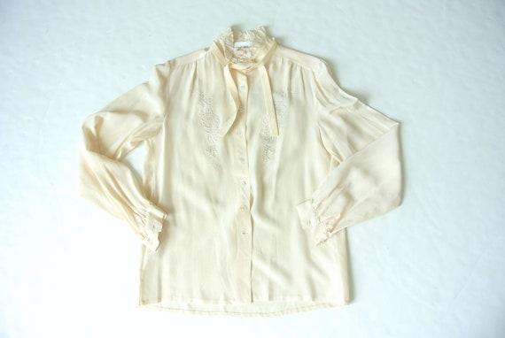 Vintage  1970s silk cream white secretary blouse