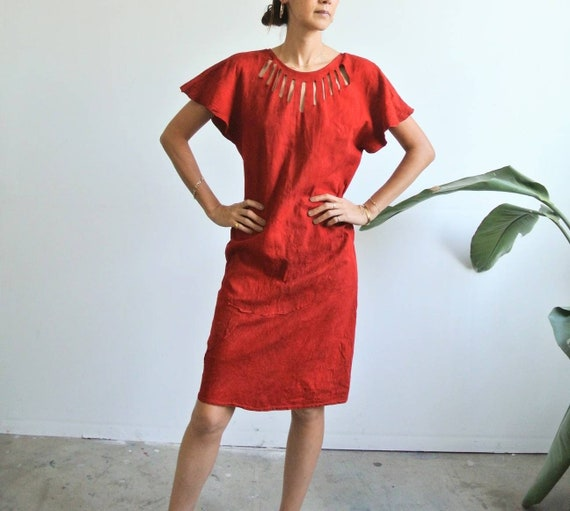 Vintage 1980s suede leather red dress