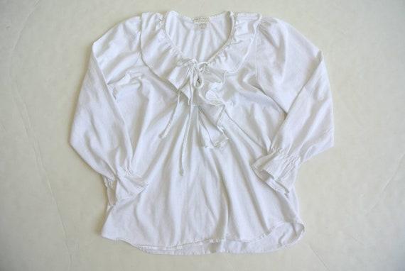 Vintage 1990s white ruffle blouse - image 4