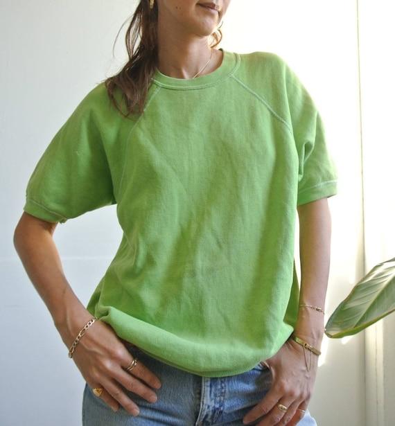 Vintage 1970s lime green short sleeve sweatshirt