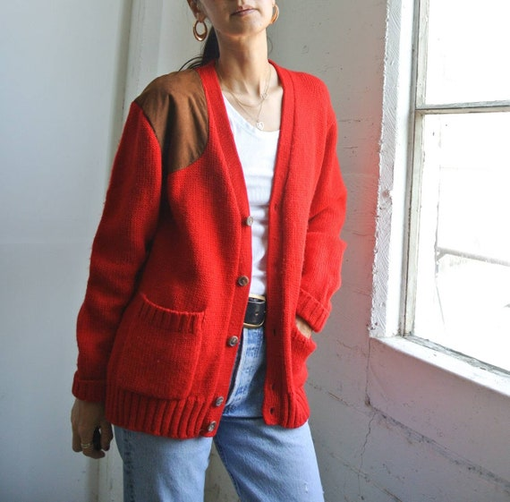 Vintage 1980s Ralph Lauren red wool cardigan - image 1
