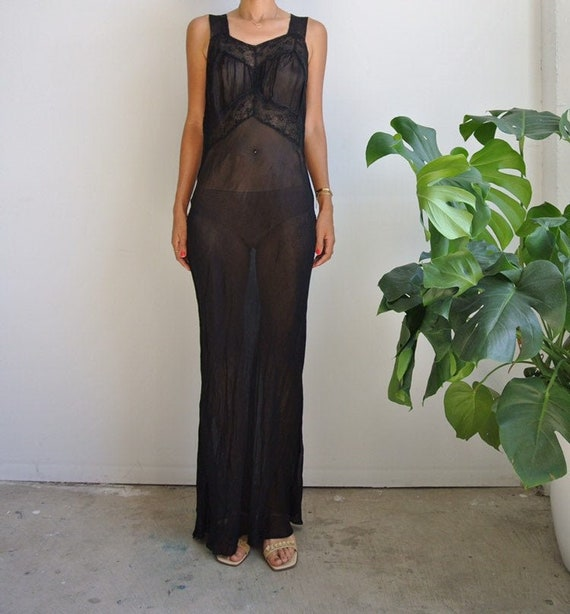 Vintage 1930s black maxi slip dress
