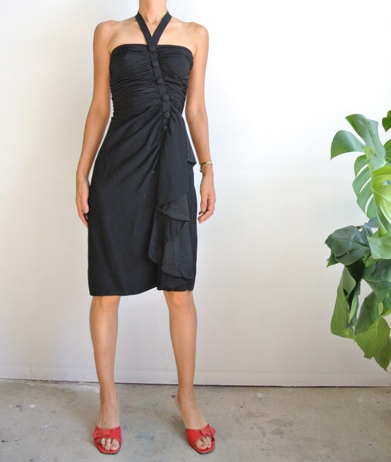 Vintage 1950s-60s black halter neck dress
