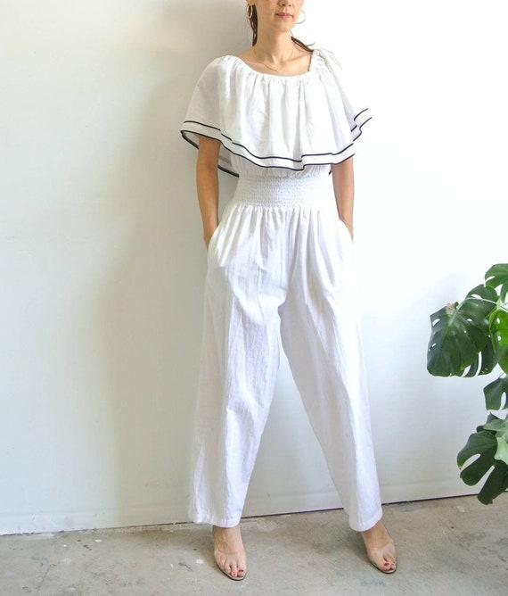 Vintage 1980s ruffle collar white jumpsuit