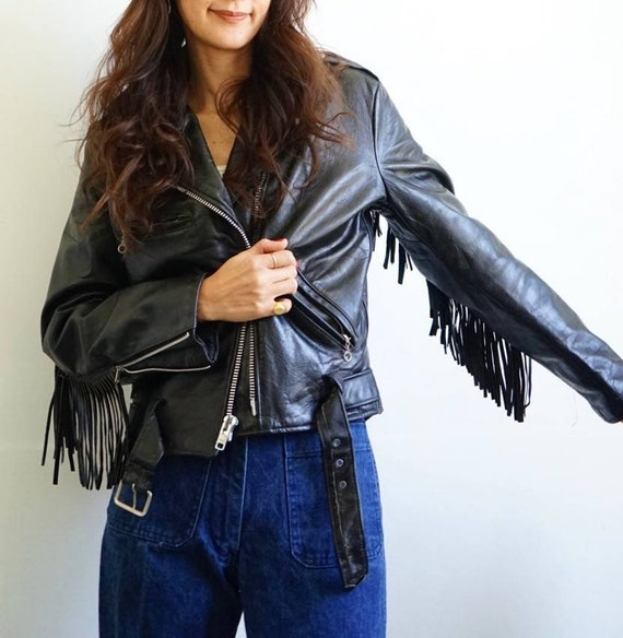 Vintage 1980s fringed black genuine leather motorc