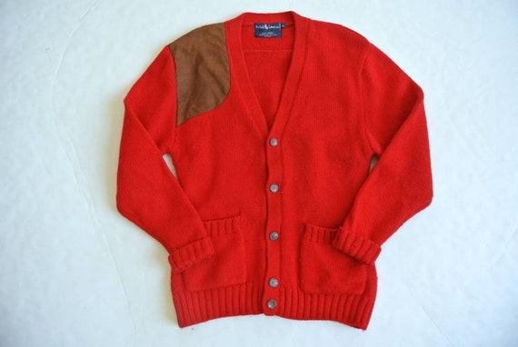 Vintage 1980s Ralph Lauren red wool cardigan - image 3