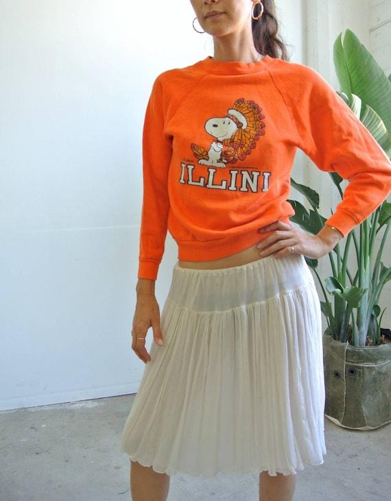 Vintage 1980s ILLINI  snoopyTHE PEANUTS orange rag