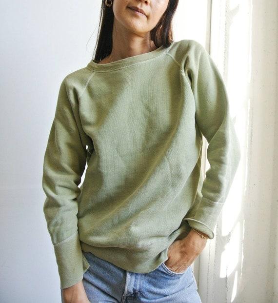 Vintage 1960s sage green solid raglan sweatshirt