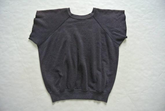 Vintage 1980s faded black cut off sleeve sweatshir